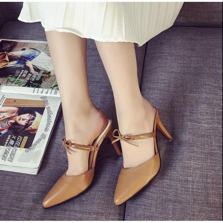 Belles Fleurs 韓韓國版 英倫尖頭高跟細跟包頭拖鞋女鞋 蝴蝶結涼拖鞋女涼鞋卡其