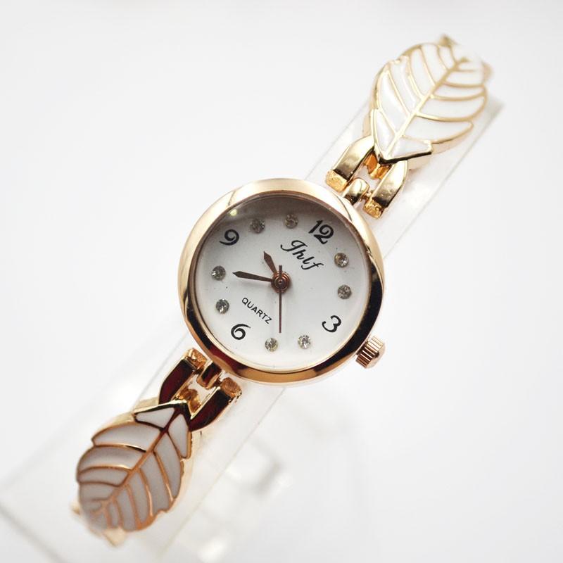 樹葉手鏈女士手錶女學生鑲鑽水鑽可愛女表石英時裝表簡約腕表
