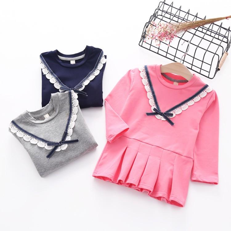 新品特惠2016  女童女寶寶學院風百摺長袖連身裙 加