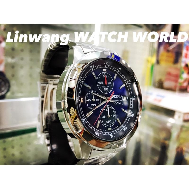 沒有 盒裝附店家盒裝店家 一年SEIKO SKS419 三眼計時碼錶藍面錶面4 2 公分
