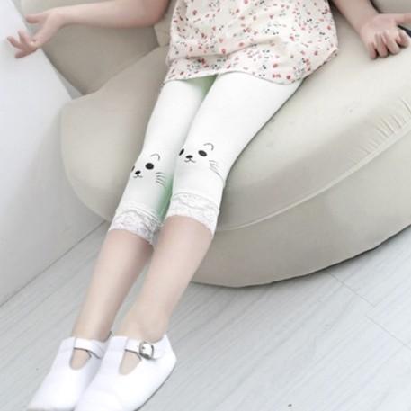 2016 春夏 蕾絲褲腳女童可愛小貓咪純棉內搭安全褲