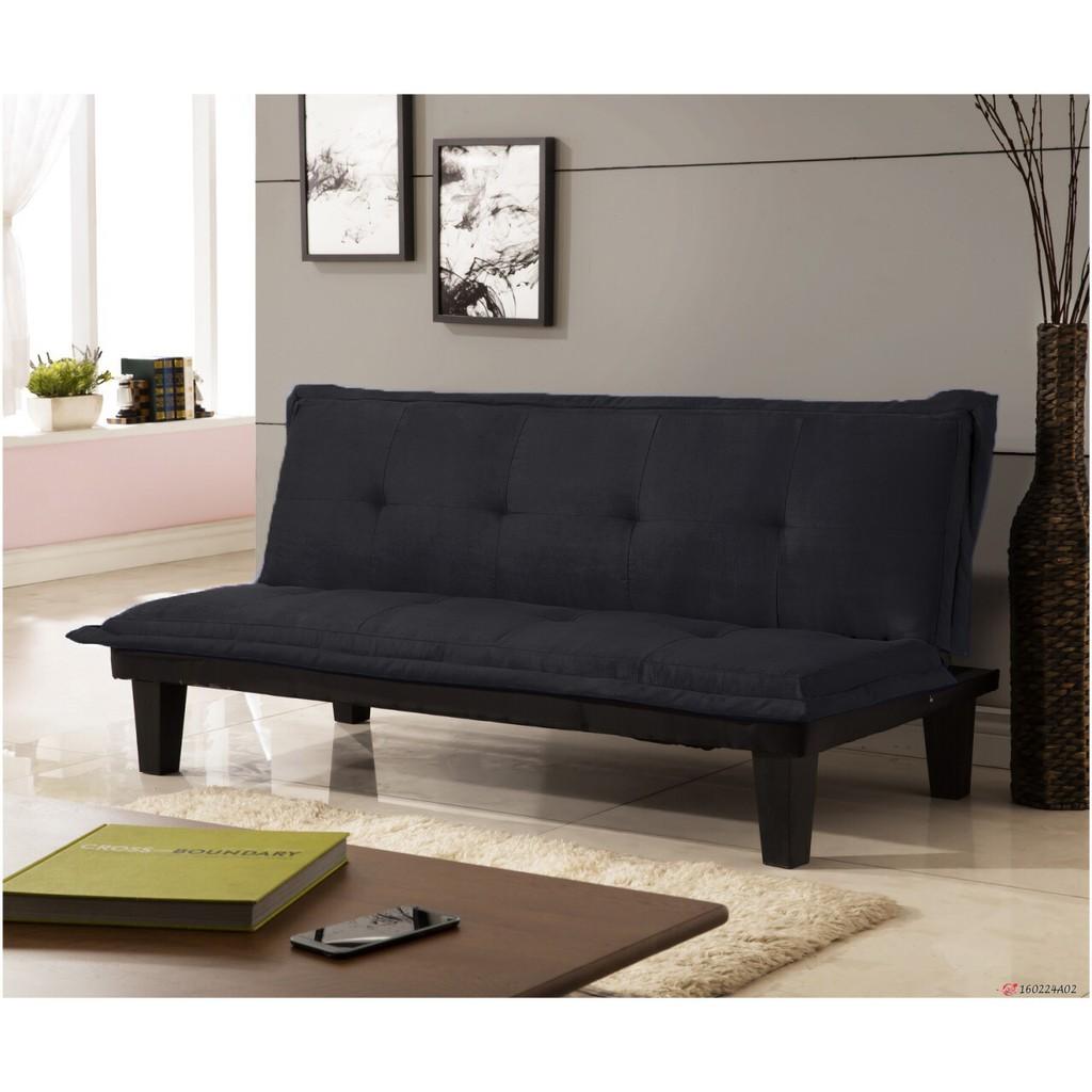 快樂窩 傢俱無法超取 價四色 商業空間~伊梧奺~黑色绒布布沙發床三人位沙發床沙發椅