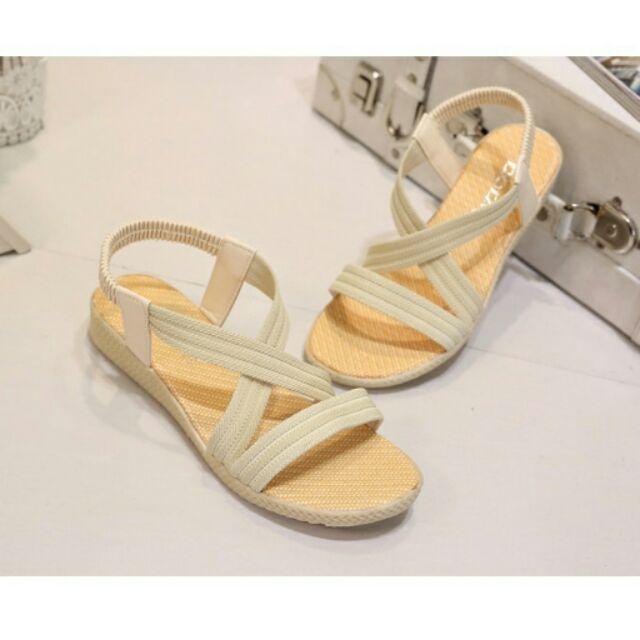 涼鞋百搭交叉線條鬆緊帶微楔型涼鞋(3 色)現