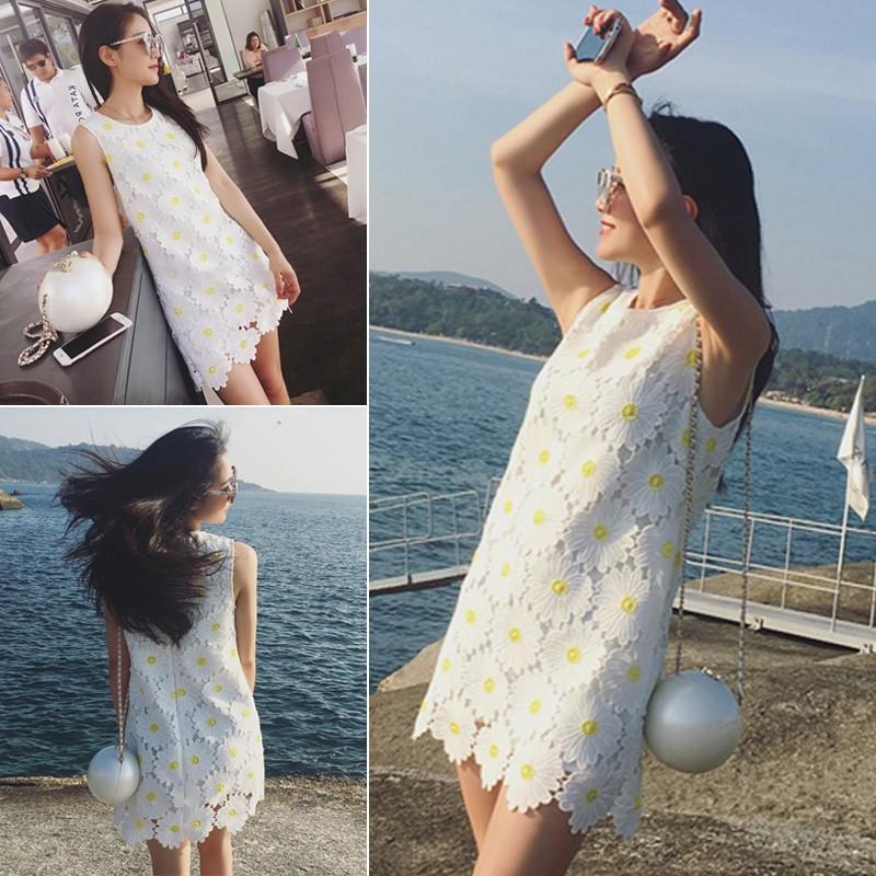 ❤ ❤2016 夏裝 韓系氣質百搭修身顯瘦花朵 水溶蕾絲連衣裙女短裙