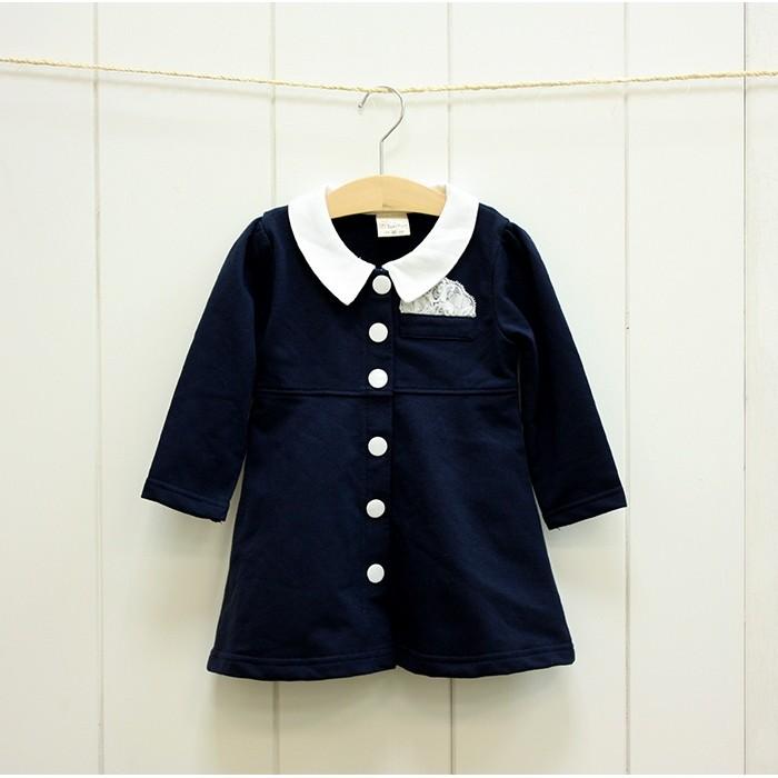 阿布 ~QG493 ~藍色氣質翻領單排扣素款連身裙連衣裙洋裝100 130cm