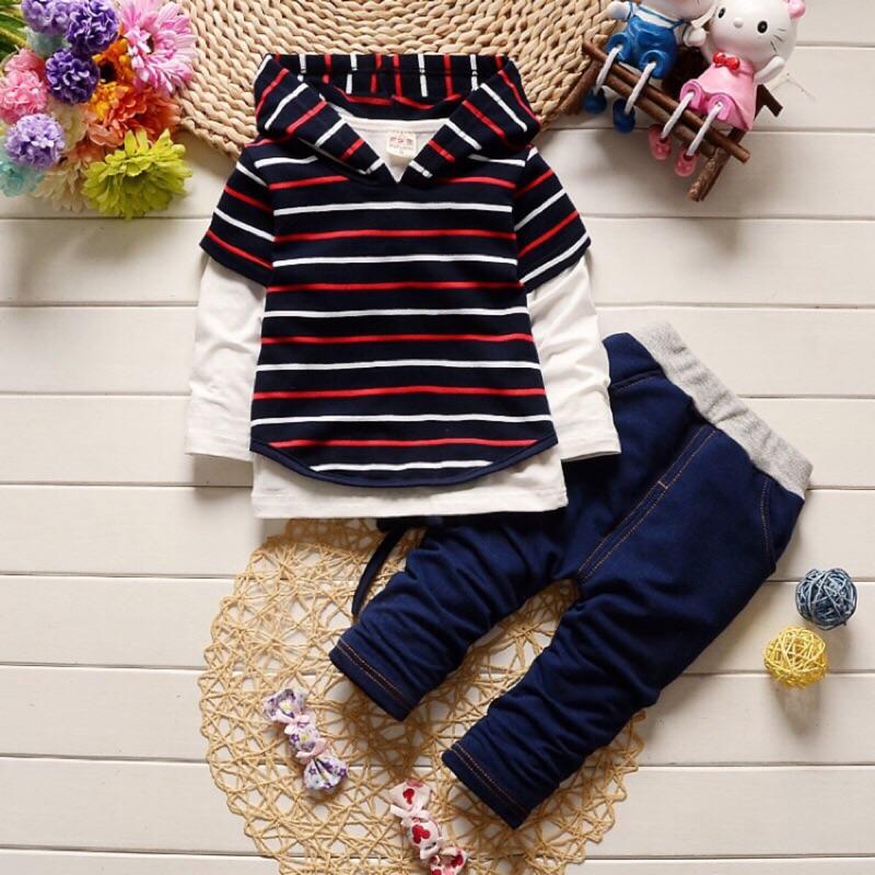 辣媽與萌寶[ ] 潮童 兒童純棉套裝男小童 純棉寶寶衛衣三件式套裝長袖條紋女童型男潮童套裝