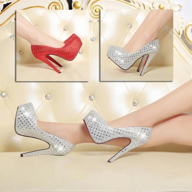 11CM 超高跟鞋紅色婚鞋水鑽細跟淺口圓頭內防水臺大碼單鞋小碼女鞋女鞋休閒鞋 鞋跑步鞋網球