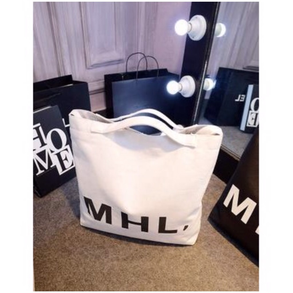 ~ 出貨~2017 包韓國復古包單肩背包字母MHL 包帆布袋包牛仔布包環保袋手提袋 袋女包