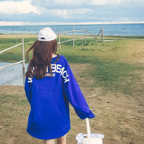 新店~超 ~128 ¥ 198 ¥長袖衛衣女 學生寬松顯瘦字母印花純棉中長款上衣