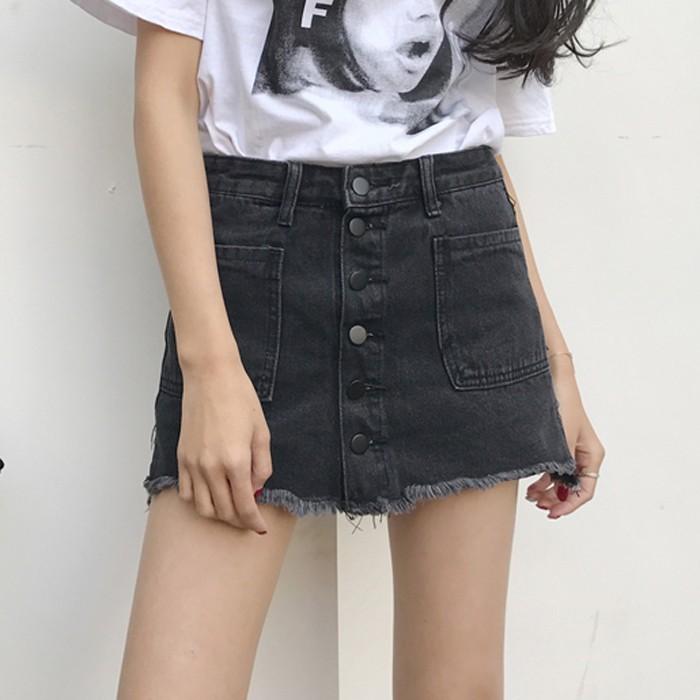 一件 春夏女裝2017  高腰顯瘦毛邊牛仔裙包臀裙學生短裙A 字裙潮