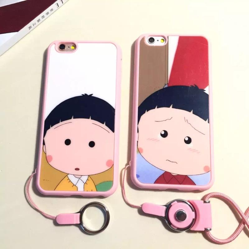 731 卡通可愛小丸子iPhone6s 手機殼蘋果6plus 軟殼矽膠套5se 掛繩全包i