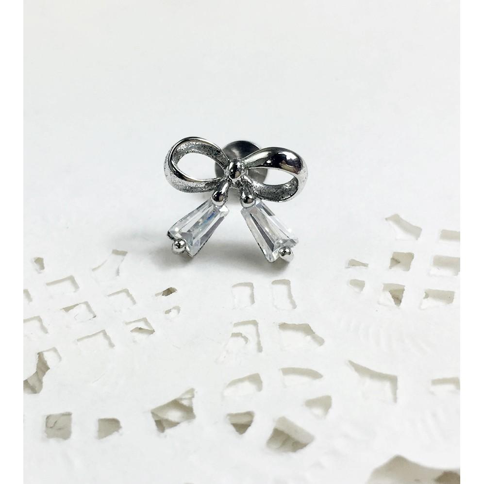 小靖的店醫療鋼針抗過敏鋯石亮鑽蝴蝶結耳環 單隻102 元