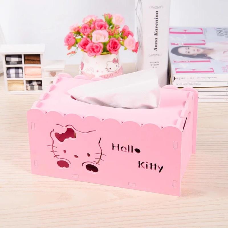 KITTY 木塑板紙巾盒鏤空雕花紙巾抽桌面收納整理盒抽紙盒