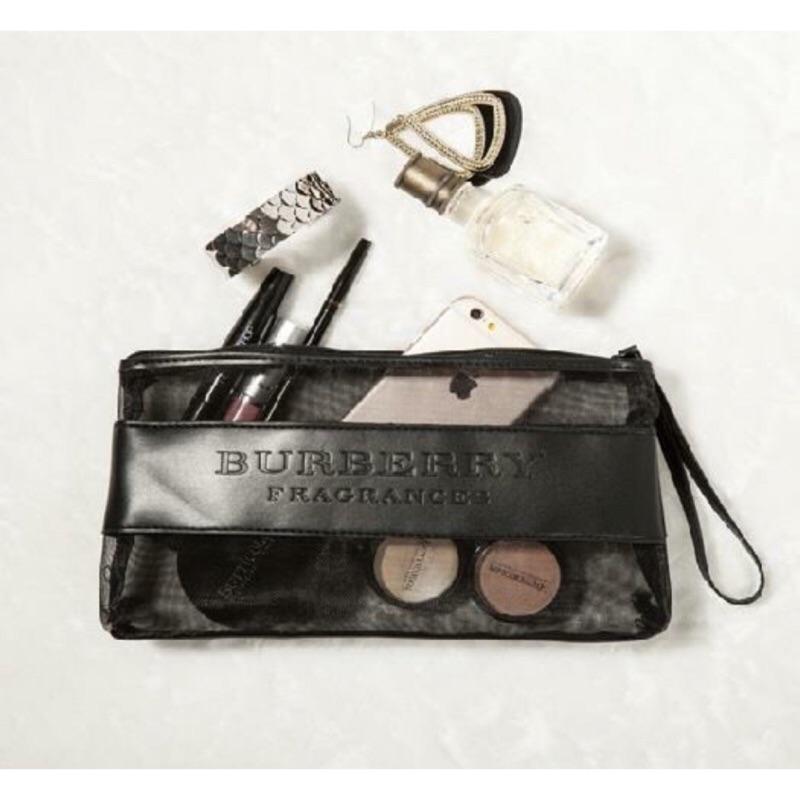 BURBERRY 品牌拼接皮質網狀化妝包小物包手機包手拿包