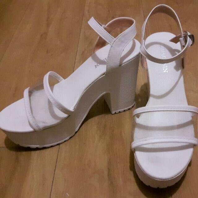 白色透明厚底粗跟繫帶涼鞋23 36