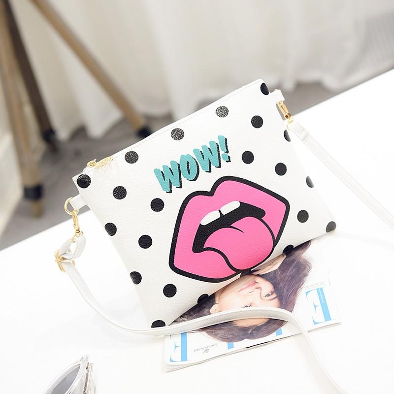 2016 夏 女包可愛卡通印花單肩斜挎女信封包鏈條包潮小包包