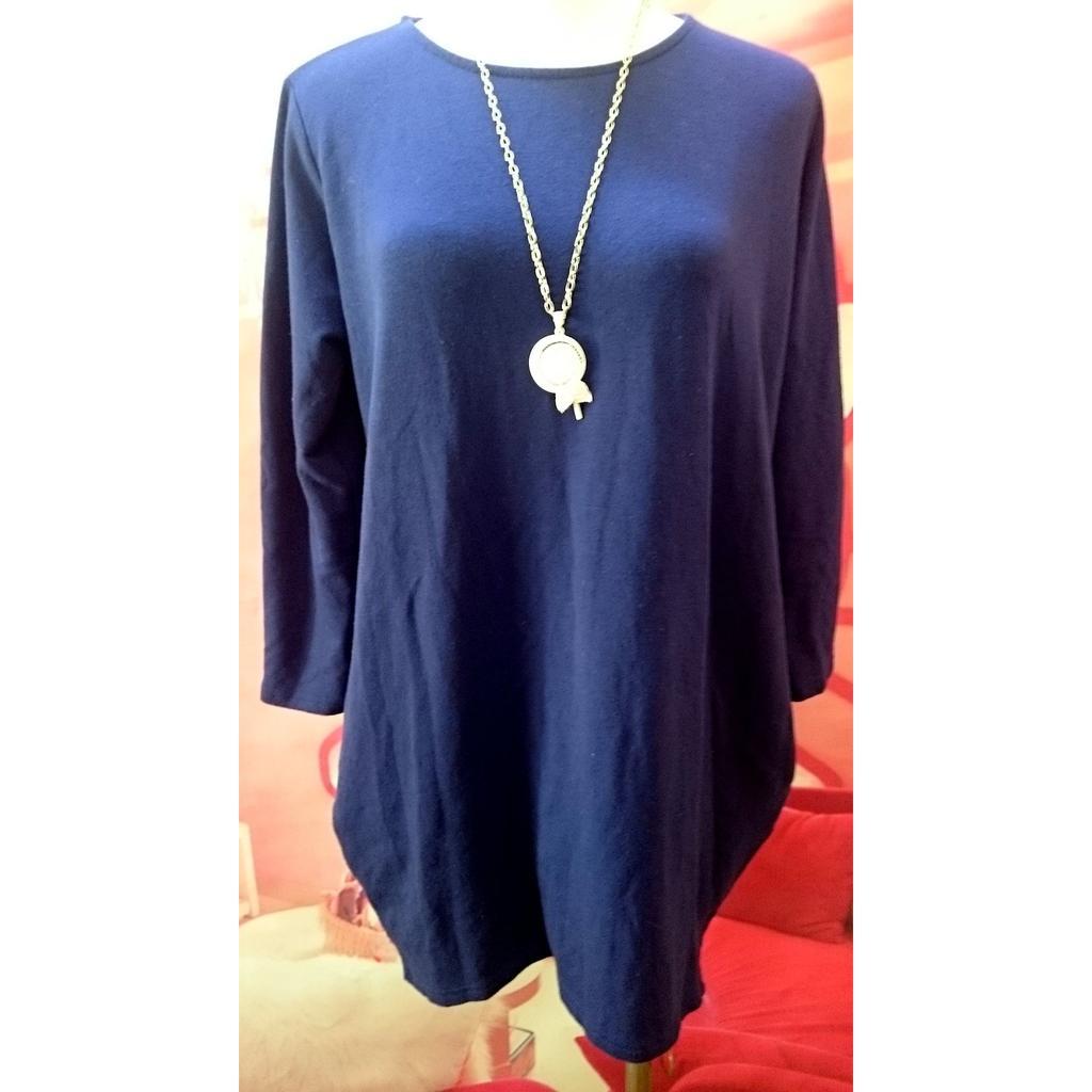 韓國製韓貨深藍色圓領寬鬆不規則前短後長下擺側口袋 洋裝連身裙長版上衣T 恤棉T