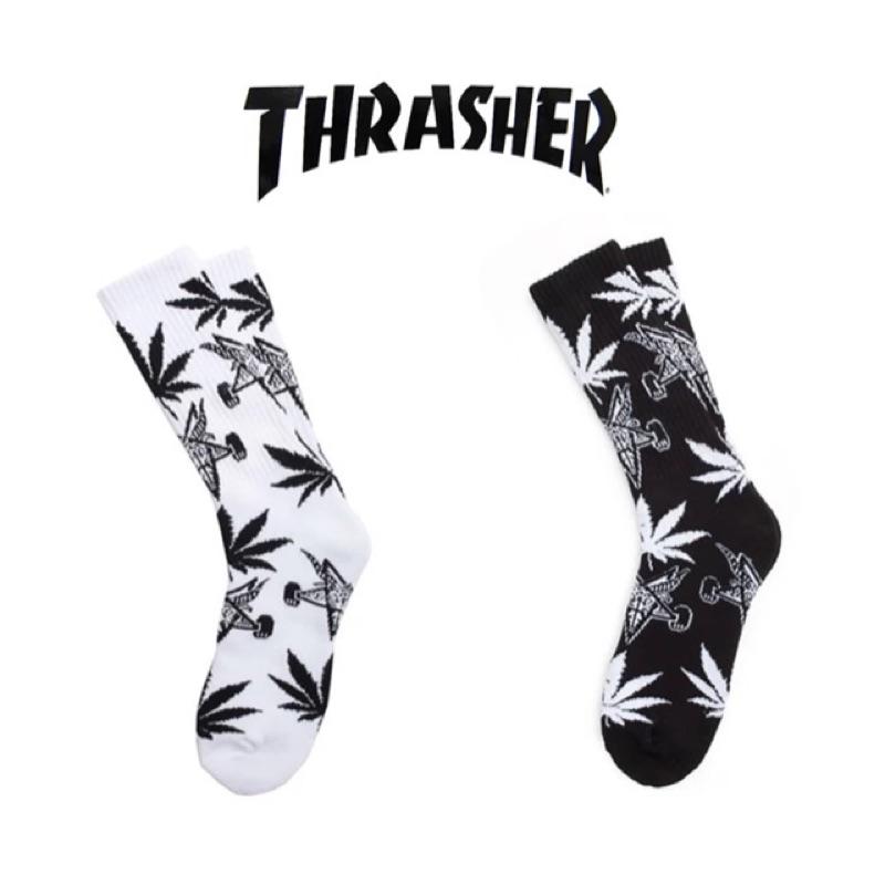 Thrasher x HUF 滑板長襪足球襪純棉聯名高筒黑白紅