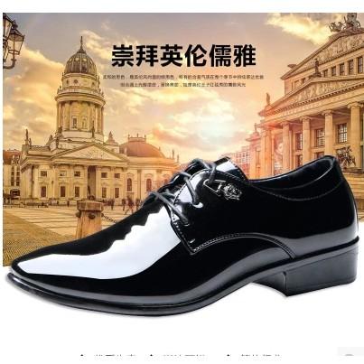 尖頭皮鞋 英倫透氣休閒漆皮低幫潮流髮型師男鞋 鞋