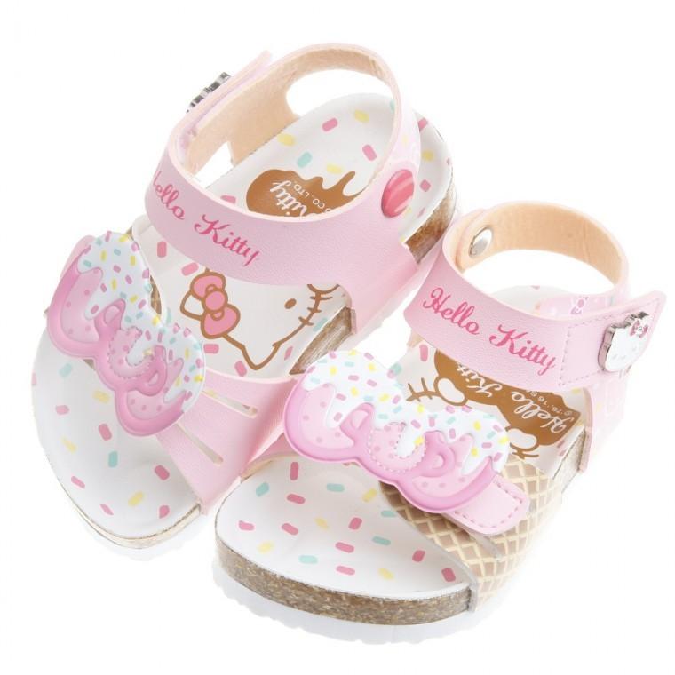 晨晨童鞋HelloKitty 凱蒂貓蜜糖蝴蝶結粉色腳背可調節式歐風兒童氣墊涼鞋