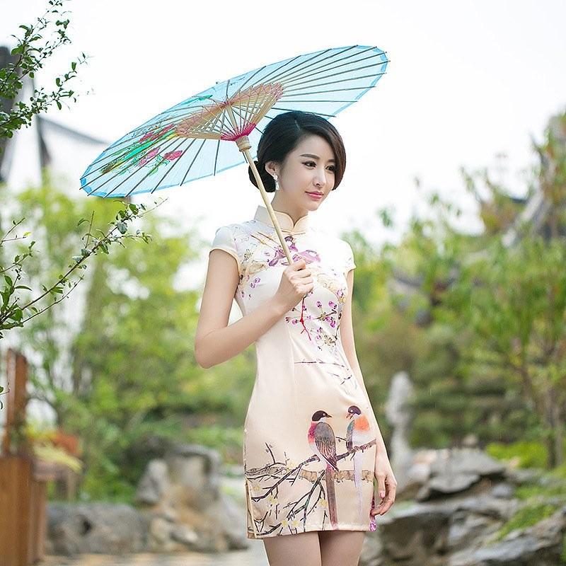 旗袍改良 夏春裝性感修身日常短袖絲綢刺繡短款旗袍裙