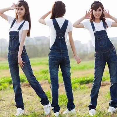 牛仔背帶長褲女春 大碼學生寬鬆直筒褲連體背帶褲吊帶褲潮