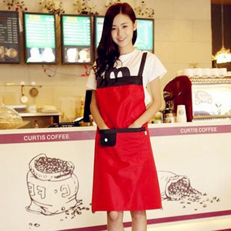日韓 館  肩帶式無袖家居圍裙韓國新品 日用品圍兜兜家事餐具 純色防油防水圍裙廚房罩衣防污