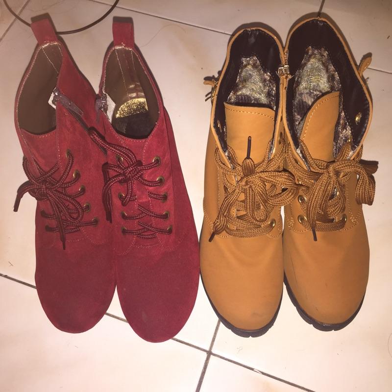 紅色楔型鞋高跟鞋駝色英倫圓頭粗跟騎士靴咖啡色女鞋跟鞋綁帶羅馬高筒