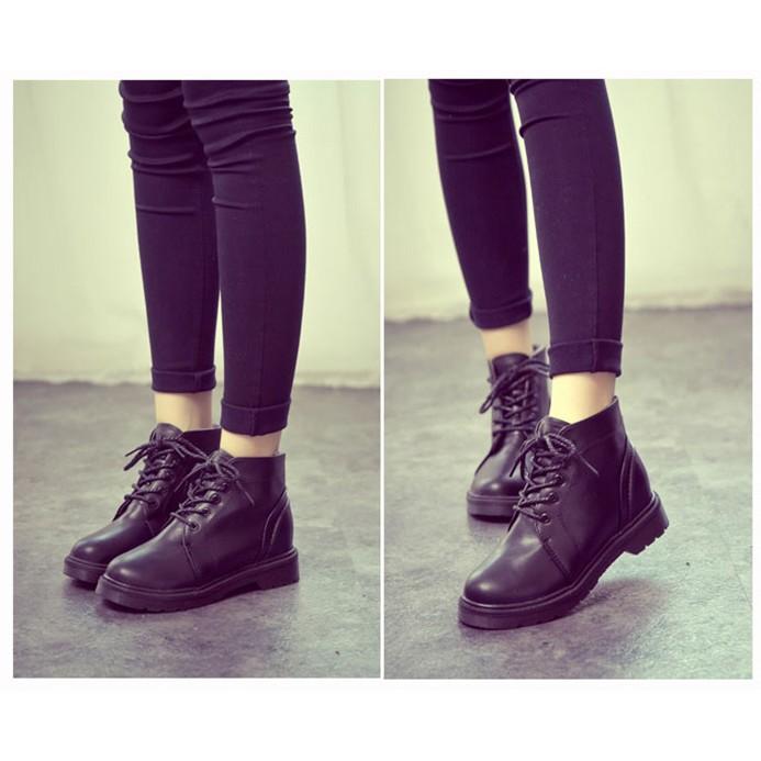 馬丁靴潮女短靴英倫風平底複古短筒厚底女靴子