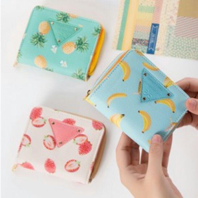 小清新甜美水果圖案皮質短款拉鏈錢包女式便攜小皮夾