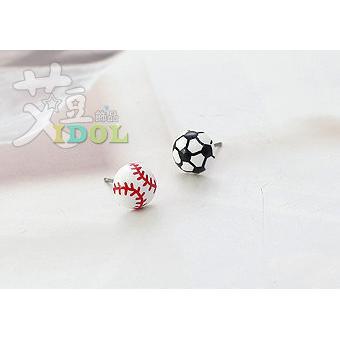 A303 棒球足球耳環1 個耳針款 休閒中性型男ASMAMA 訂購韓國 ◆艾豆◆