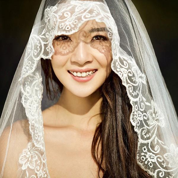 韓系1 5m 長款刺繡寬花邊頭紗新娘