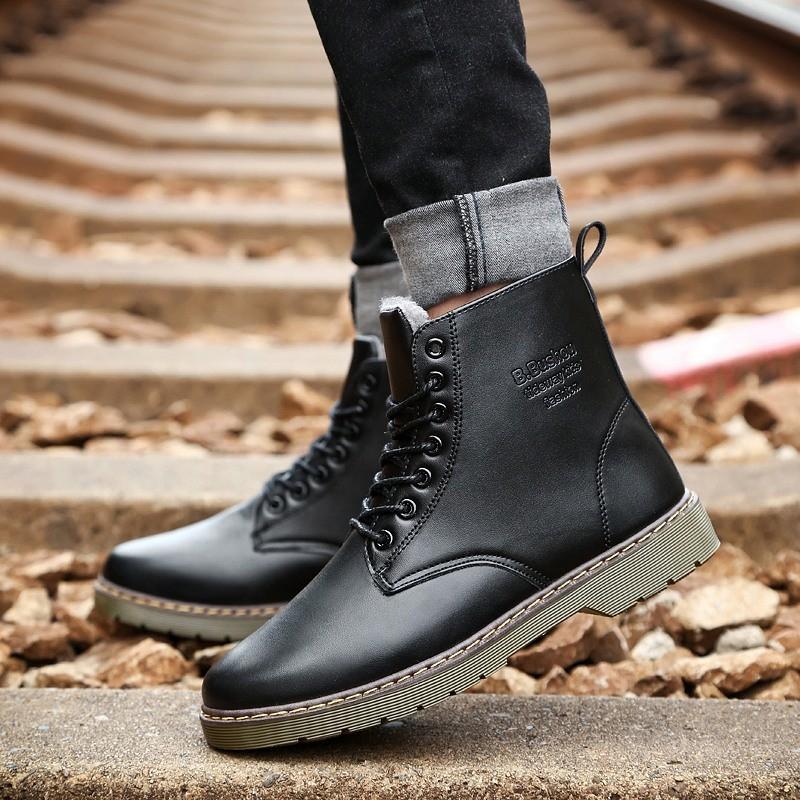 男士馬丁靴男復古加絨保暖工裝靴子高幫 戶外棉靴~韓國元素~