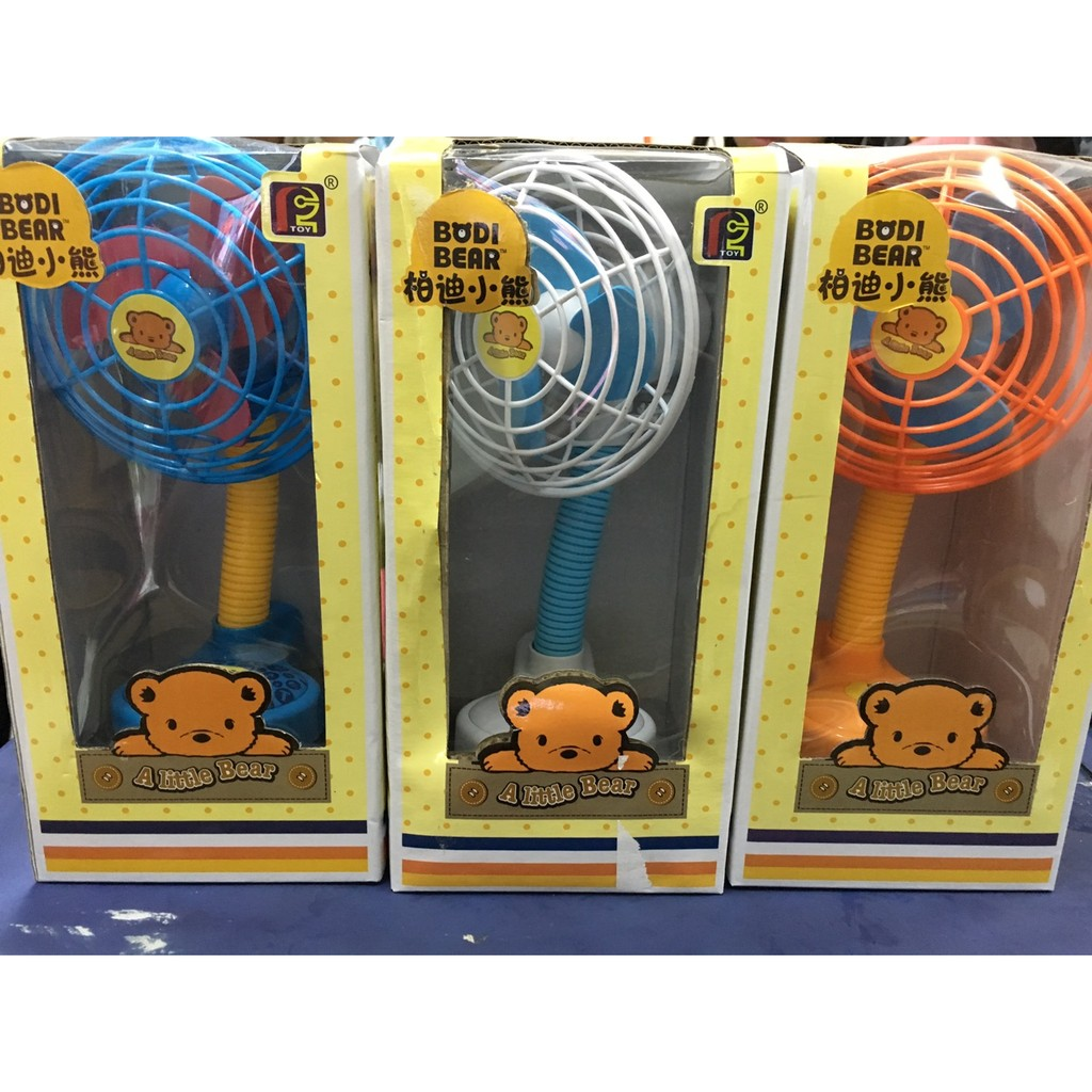 277 可愛柏迪小熊可搖擺式轉頭夾扇嬰兒推車夾扇手推車夾扇小電風扇可裝電池跟USB 線 用