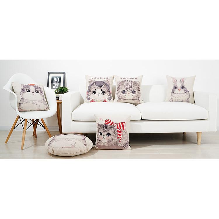 貓咪小貓蕃茄蝴蝶結兔子家族可愛動物高 厚棉麻抱枕抱枕套不含枕芯枕心靠枕沙發枕喵星人