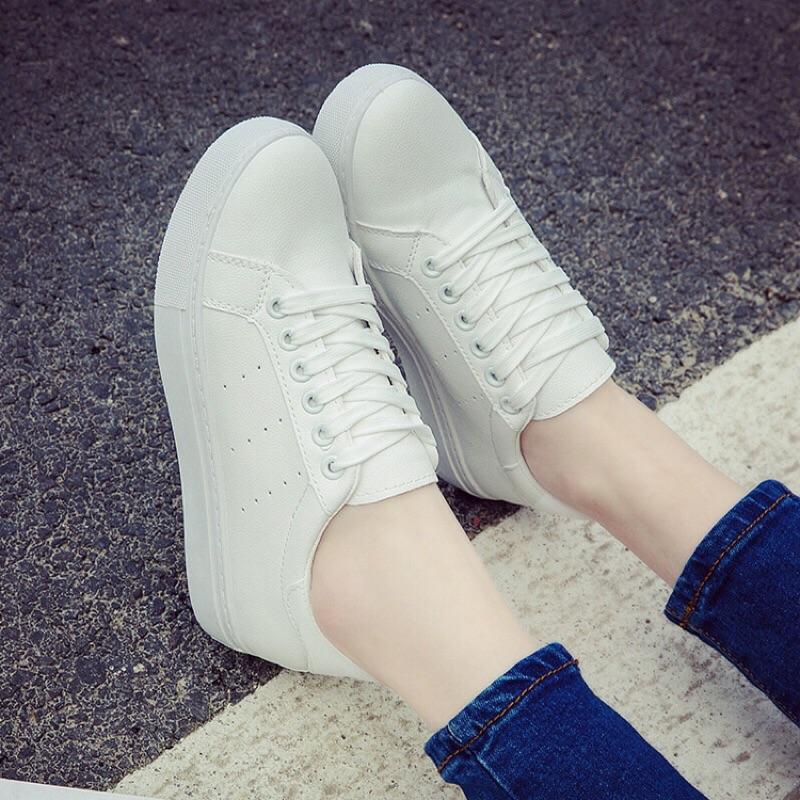 百搭皮面小白鞋繫帶女鞋 白色帆布鞋平底學生板鞋休閒鞋