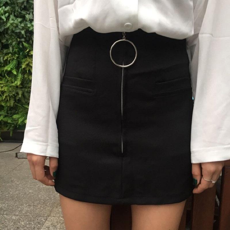 大圓環拉鍊小黑裙半身裙高腰裙修身顯瘦百搭裙短裙