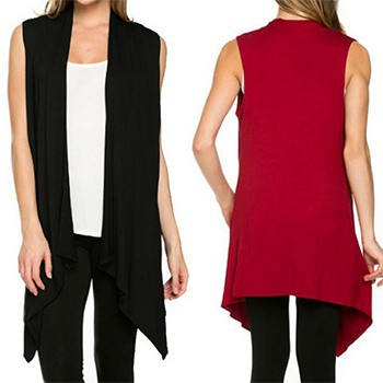 女性針織無袖開縫圓領純色寬鬆毛衣外套
