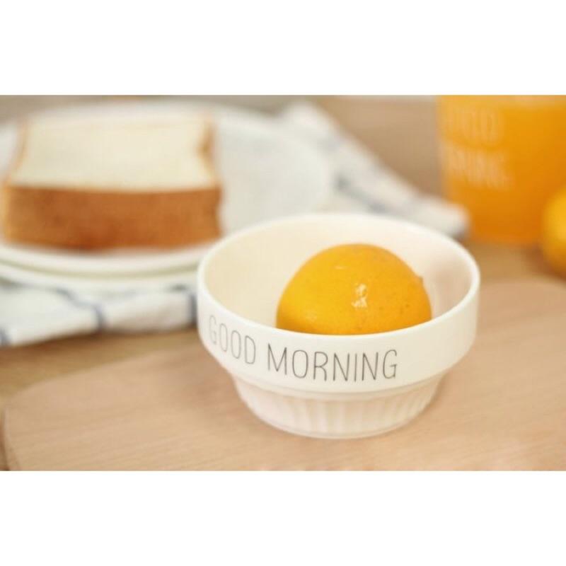 ◕。巴黎香戀❤北歐文藝小清新陶瓷盤子早餐碗蛋糕點心碗日韓骨瓷早餐碗Good morninr