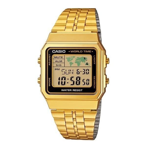 CASIO A500WGA 1 防水LED 照明不鏽鋼錶帶 地圖附  書