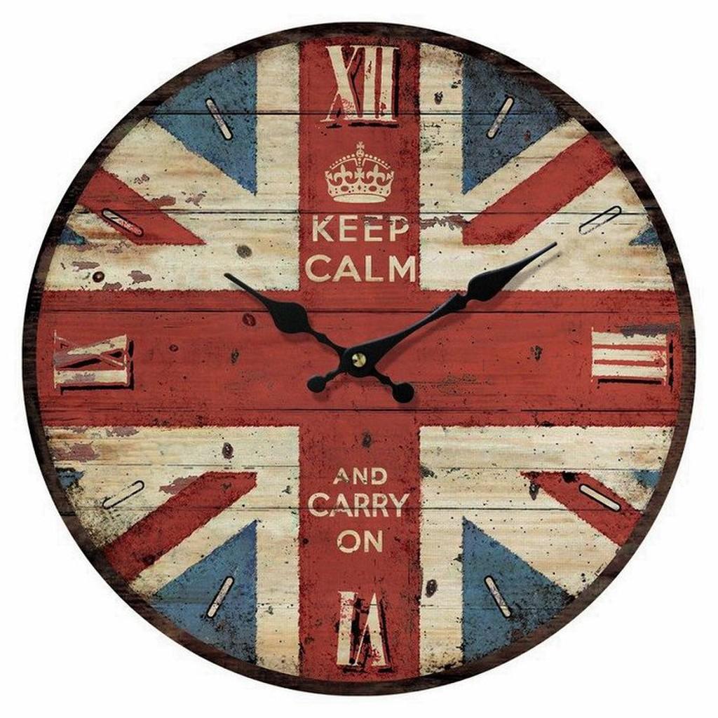 ~ 雜貨館~好感 英國國旗米字旗法國巴黎鐵塔復古掛鐘時鐘圓鐘 鐘民宿咖啡廳加分 裝飾