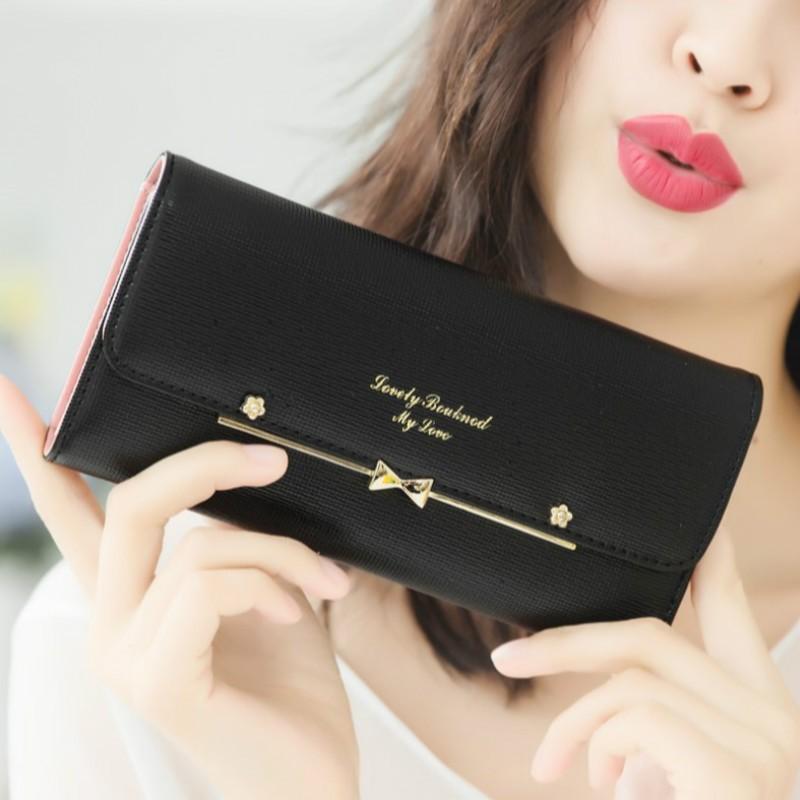 日 甜美蝴蝶結搭扣可愛三折長款錢包錢夾皮夾