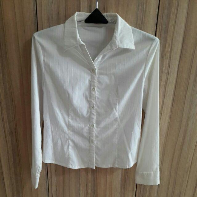 白色條紋襯衫襯衫 女裝 衣服 女裝 上衣 最夯