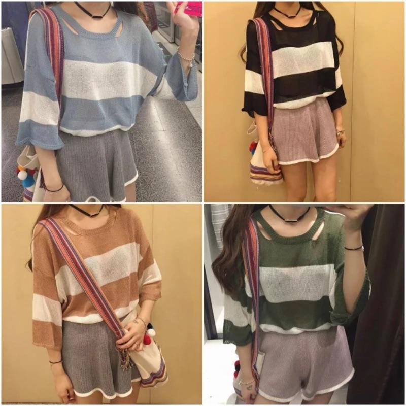 少量 韓國圓領喇叭袖鏤空條紋寬鬆針織衫中袖T 恤女短袖女上衣