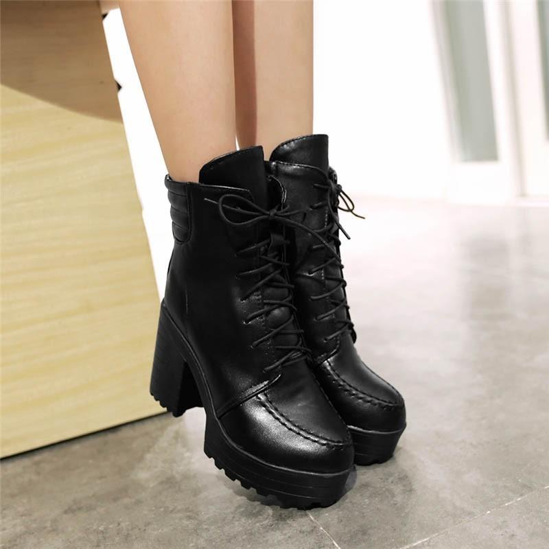 春秋 高跟馬丁靴前系帶厚底防水臺皮面女短靴粗跟英倫女靴