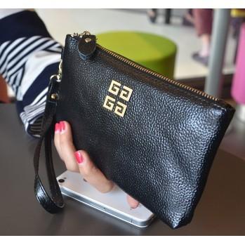(滿299 )2016  小手包女式拉鏈真皮大容量手拿包頭層牛皮手機零錢包