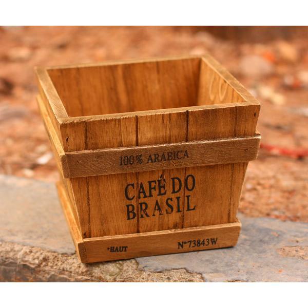 復古木質收納筒盆栽 zakka 雜貨做舊化妝品收納盒木質桌面收納 居家木桶筆筒居家裝飾
