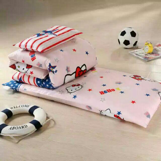 100 純棉英倫Kitty 兒童、嬰兒床床墊、枕頭、被子幼兒園