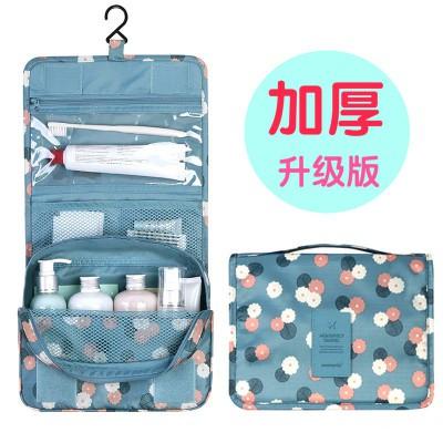 � 花布旅行收納洗漱包懸掛式收納袋化妝包可折疊手提整理包