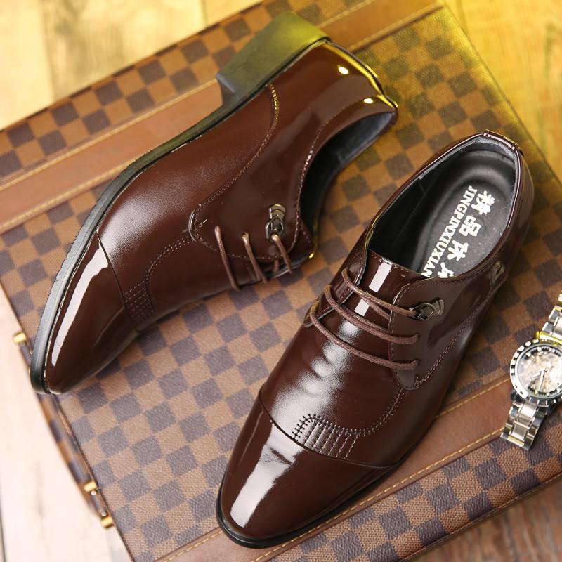 男士商務皮鞋正裝婚鞋黑色繫帶英倫休閒鞋